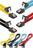 Poppstar 4x 0,5 m S-ATA 3 HDD SSD Datenkabel (Stecker gerade auf 90° gewinkelt) (bis zu 6 Gbit/s), Festplatten Sata Kabel, Motherboard, PC Case Modding, schwarz, gelb, rot, blau