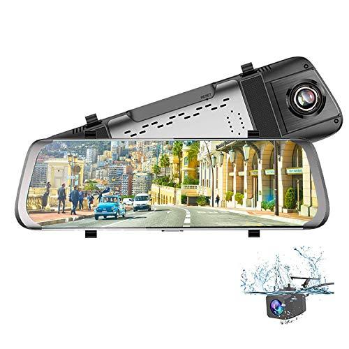 Dash Cam Telecamera per Auto Specchio 10 Pollici Stream Media IPS Toccare Schermo HD 1080P con 170°Grandangolare Retrovisore di Riserva Telecamera con Monitor.