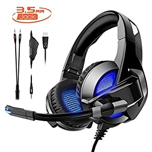 Rimila Stereo Gaming Headset für PS4, PC, Xbox One Controller, Noise Cancelling Over Ear Kopfhörer mit Mikrofon, Bass…