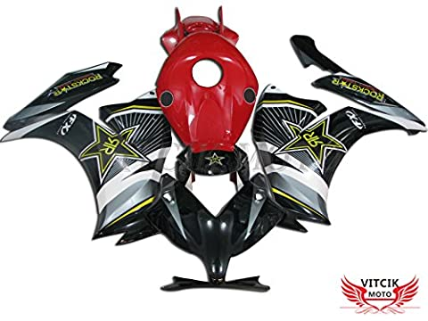VITCIK (Fairing Kits Fit for Honda CBR1000RR 2012 2013 2014 2015 CBR1000 RR 12 13 14 15) Plastic ABS Injection Mold Complete Motorcycle Body Aftermarket Bodywork Frame(Black & Red)