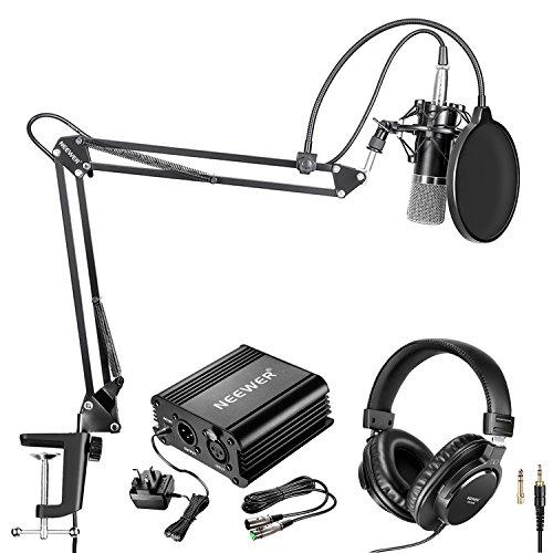 Neewer Microfono USB per Windows e Mac con braccio di sospensione forbice supporto antiurto filtro pop cavo USB e morsetto da tavolo per trasmissione