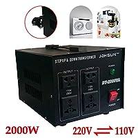 Yiyiby Voltage Converter 2000 W 220 V to 110 V Voltage Converter 220 V to 110 V Step Up/Down Converter 2000 W Voltage Converter