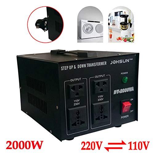 2000W 220V to 110V Volt Spannungswandler,YIYIBY pannungswandler Transformator 220V-110V Step Up/Down Converter Konverter 2000W Voltage Converter