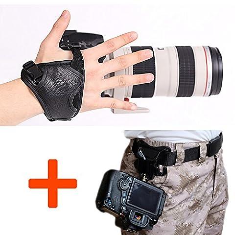 WITHLIN Kit de photographie - taille ceinture boucle bouton + Camera Grip dragonne de bande pour appareil photo SLR DSLR (Canon Nikon Sony Pentax Olympus, etc.)
