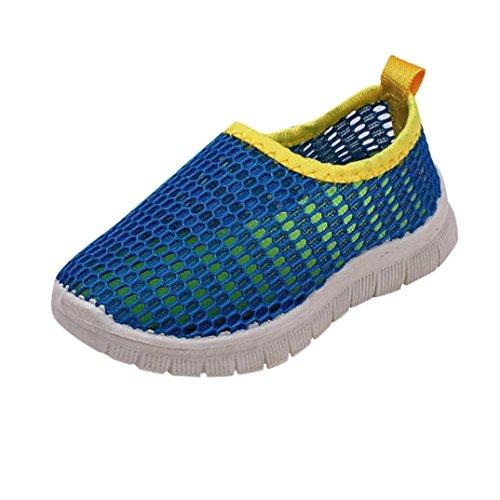 FNKDOR Jungen Mädchen Mesh Schuhe Geschlossene Wasserfest Sandalen Atmungsaktiv Wasserschuhe Badeschuhe (30, Blau)