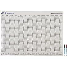 Staedtler 641YPDE18P Lumocolor Jahresplaner Set 2018 (trocken abwischbarer Wandkalender, exklusive Sonderedition mit 2 ST correctable 305 F Stiften, 84 x 60 cm) schwarz/rot