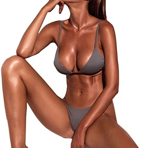Frauen Kleid Mode Lässig Sexy Badeanzug Bluse Dame Bikini Hosen Mit Rock Sport Bademode Für Frauen Plus Größe Badeanzug Für GirlsJYJMEinfarbig split Halter Thongs Badeanzug Anzüge (S, Grau) (Größe Kleider Anzüge Plus)