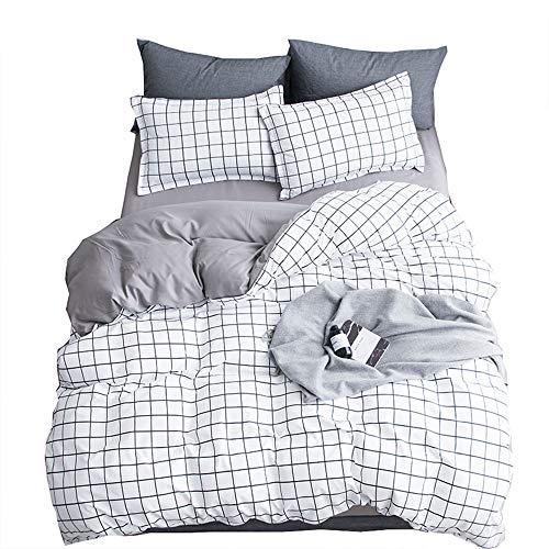 YJJSL Baumwolle-Bettwäsche-Set, Student Schlafzimmer Stilvolle Einfachheit Duvet Suit, geometrische gestreiften Gitter Naked Solid Color Quilt Anzug Set - abnehmbar 3 / 4Pices (Baumwolle Geometrische Tröster)