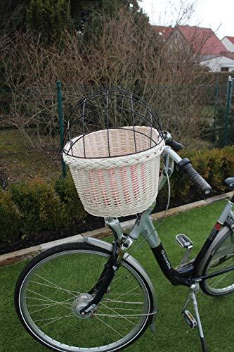Marcus - Cestino per Bicicletta per Cani, in Vimini, con griglia in Metallo e Cuscino, Colore Bianco