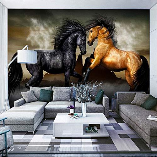 Zybnb Hochwertige Benutzerdefinierte Fototapete Pferd Wohnzimmer Sofa Schlafzimmer Hintergrund Flash Silber Tuch Wand Papier Wandbild Wand 3D-400X280Cm