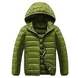 iPretty Winter Down Jacket Jungen Mädchen Daunenjacke verdickte Winterjacke mit Kapuzen Mantel Trenchcoat Outerwear (Asian110/EU100, Grün)