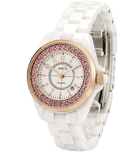 AMICA Women's Dress Ceramics Band Quartz Hardlex Glass Diamond Wrist Watch 50M Water Proof Luxury Gift (Gold Pink)
