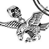 BlackAmazement Anhänger Adler Eagle Skull Totenkopf Edelstahl Biker Lederband Halskette (Anhänger mit Lederkette)