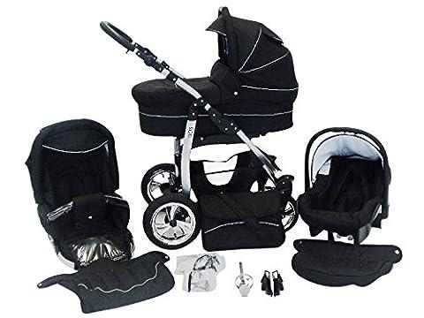 Chilly Kids Dino 3 in 1 Kinderwagen Set (Autosit & Adapter, Regenschutz, Moskitonetz, Schwenkräder) 04 Schwarz &