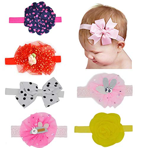 INFInxt 6 Pcs Head Bands for Baby Girl Kids Combo Set Multicolor (Assorted)