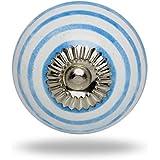 Ceramic Round Knob Blue Circles on White with Chrome Finish By Trinca-Ferro