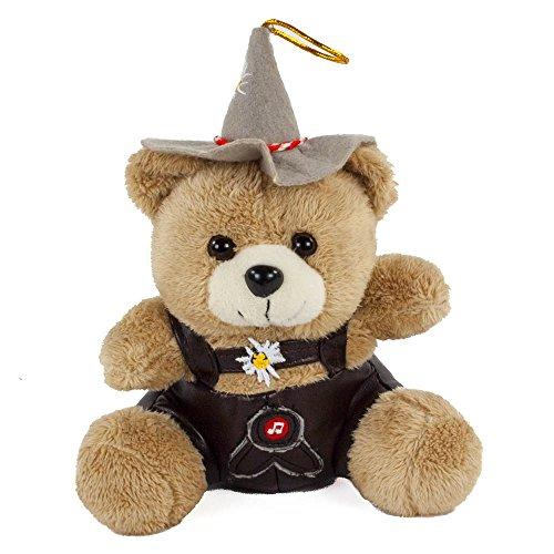 Euro Souvenir Trachten-Teddybär mit Stimme, 18 cm, Plüschteddy, rotes Band