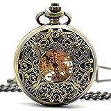 Stayoung Steampunk Antiguo Bronce Números Arábigos Cuerda Manual Reloj de Bolsillo Mecánico Colgante Cadena Palacio Estilo Retro Alta Calidad