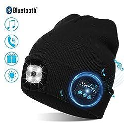 TAGVO USB LED Mütze Kappe Bluetooth 5.0 Mütze, Integrierter Stereolautsprecher & Mikrofon, Winter Warm Gestrickte Beleuchtung Drahtlose Bluetooth Headset Musik Hut für Laufen Wandern Herren Damen