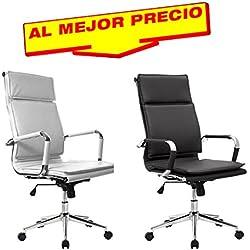 SILLA DE ESCRITORIO MODELO ROTUMA, BASCULANTE OFICINA ELEGANTE, SILLA DE OFICINA SILLON DE DESPACHO ESTUDIO DIRECCION GIRATORIA ACABADO CROMADO - OFERTAS HOGAR Y OFICINA -¡AL MEJOR PRECIO!-DISPONIBLE EN VARIOS COLORES (Negro)