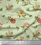 Soimoi 65 GSM mit Blumenmuster Georgette Fabric Stoff Supplies durch Das Messgerät 44 Zoll breit - Mint Grün