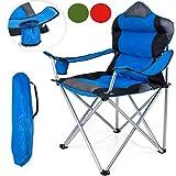 TRESKO Campingstuhl faltbar bis 150 kg | Angelstuhl Faltstuhl Klappstuhl mit Armlehnen und Getränkehalter (Blau)