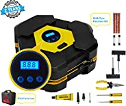 Voroly Heavy Duty Automatically Shut Off Car Air Compressor Tyre Inflators Pump Digital with Puncture Repair K