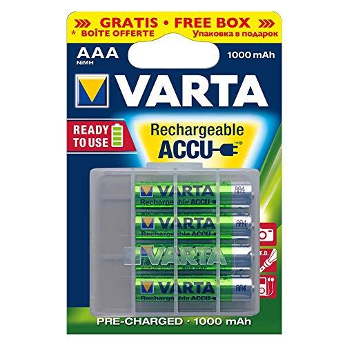 Varta Rechargeable Accu Ready To Use vorgeladener AAA Micro NiMh Akku (4er Pack, 1000 mAh, wiederaufladbar ohne Memory-Effekt – sofort einsatzbereit) - 2
