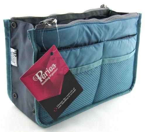 Periea - Organiseur de sac à main, 12 Compartiments - Chelsy (Bleu, Grand: H20 x L33.5 x P2-26cm)