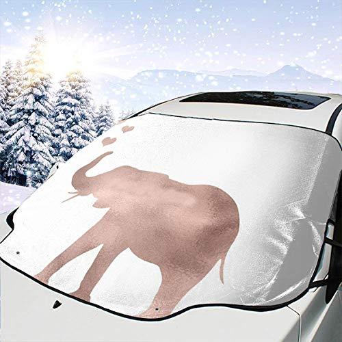 Lilyo-ltd - Protector de Parabrisas para Coche con diseño de Elefante y Amor en Oro Rosa para la mayoría de Coches, SUV, Camiones, bloquea el Calor y el Sol, Mantiene tu vehículo Fresco