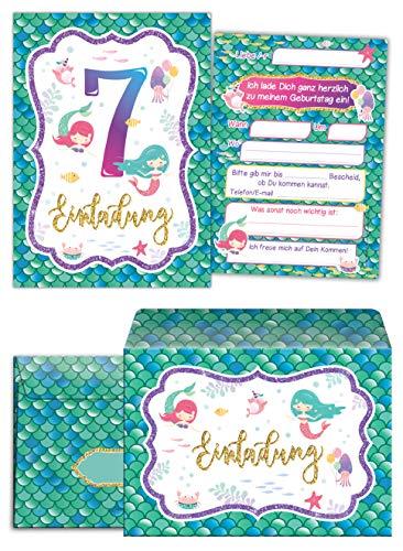 ungskarten incl. 10 Umschläge zum 7. Kindergeburtstag Mädchen Meerjungfrau Einladungen siebte Geburtstag ()