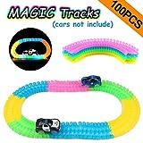 100 Piezas Circuito Coches Juguete Niño, Flexible Twister Tracks Neon...