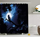 werert Night Quiet Night in The Woods Full Moon Tall Trees and Owl on Branch Tranquil Scene Shower Curtain 72 X 72 inches