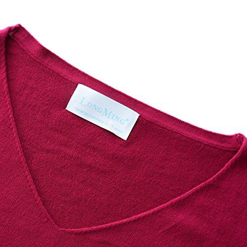 LongMing Damen Herbst und Winter Amicor arbeiten lose mit langen Ärmeln V-Ausschnitt-PulloverSexy Pullover mit V-Ausschnitt Pulli tollen Farben ... Weinrot