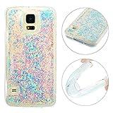 Galaxy S5 Neo Treibsand Hülle, Galaxy S5 Flüssig Tasche, Galaxy S5 Neo Bling Handyhülle, Moon mood Galaxy S5 Durchsichtige Handyhülle 3D Case Mode Bunten Sparkly Silikon TPU Weich Back Handy Cover