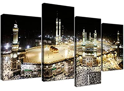 Islamic Canvas Pictures of Mecca Kaaba at Hajj for your Bedroom - Set of 4 Modern Wall Art Canvases - 4190 - Wallfillers®