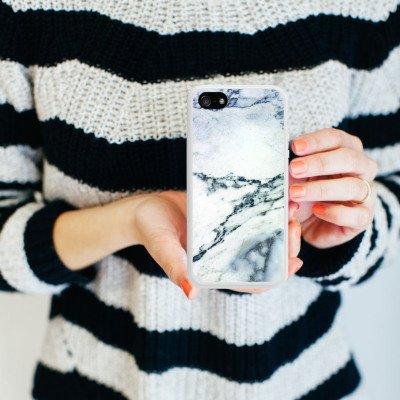 Apple iPhone 5 Housse Étui Silicone Coque Protection Pierre Marbre Motif Marble Look Housse en silicone blanc