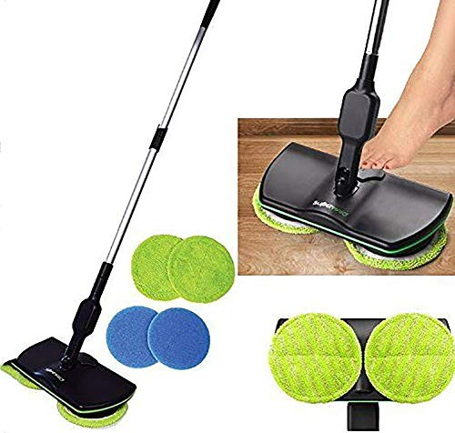 Mopp- und Eimersets Elektro-Spin-Mop, Wireless Household Reinigungs-Mop, mit Dual Spinning Heads Silent Rechargeable Handheld Electric Floor Cleaner Scrubber-Schwarz