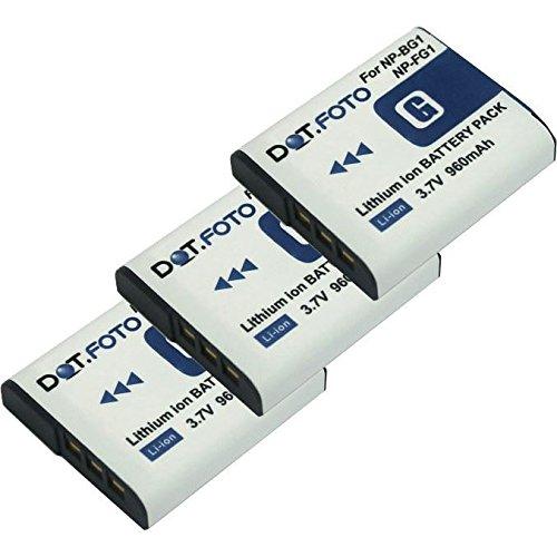 3x Dot.Foto Qualitätsakku für Sony NP-BG1,NP-FG1 mit InfoChip - 3,7v / 960mAh - Garantie 2 Jahre  [Siehe Beschreibung für die Kompatibilität] Np-fg1 Lithium-batterie