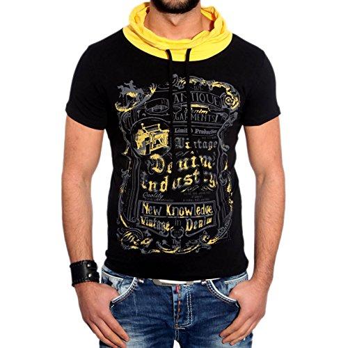 RTN-16645 R-Neal Clubwear Herren T-Shirt hoher schal kragen kurzarm Shirt NEU Schwarz / Gelb