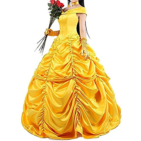 Adulte Femme Halloween - Robes de princesse jaune pour femme fantaisiste
