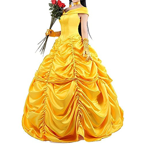 Kostüme Biest Das Schöne Halloween Die Und (Interlink-UK Beauty and the Beast Prinzessin Belle Kleid Faschingskleid Golden Cosplay Erwachsene Halloween Kostüm)