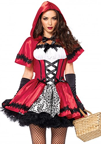 Rebellisches Rotkäppchen Damen-Kostüm von Leg Avenue Gothic Red Riding Hood, (Wolf Hood Red Riding)