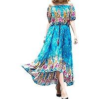 Chicolife Womens Impresión floral del verano atractivo apagado el vestido largo largo bohemio del hombro