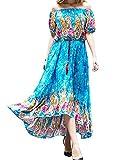 Chicolife Floral Design Elegant Cocktail Party Tunique Irrégulière Maxi Dress for Womens Girls