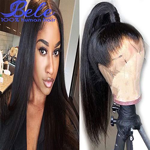 Bele 10A pelucas de encaje frontal sedoso y lacio preenroscadas 130% de densidad, cabello humano brasileño, sedoso, lacio, encaje frontal, pelucas con pelo de bebé