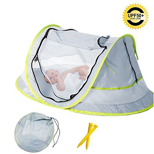 Baby Strand Zelt, Tragbare Baby Reisebett UPF 50 + Baby Sonnenschutz, Moskitonetz Regenschirm Super Leichte Faltung