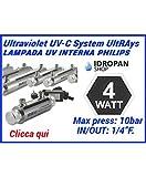 Sterilizzatore uv per acqua, Lampada UV, sistemi UV UltRAays 4Watt. con lampada interna Philips sistema completo