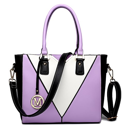 Miss LuLu Ledertasche Damen Schultertasche Handtasche (LG1641-Lila)