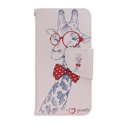 MOONCASE iPhone 7 Coque, [Colorful Eye] Modèle Housse Pochette en Cuir Etui à rabat portefeuille [Porte-cartes] TPU Case avec Béquille pour Apple iPhone 7 Girafe
